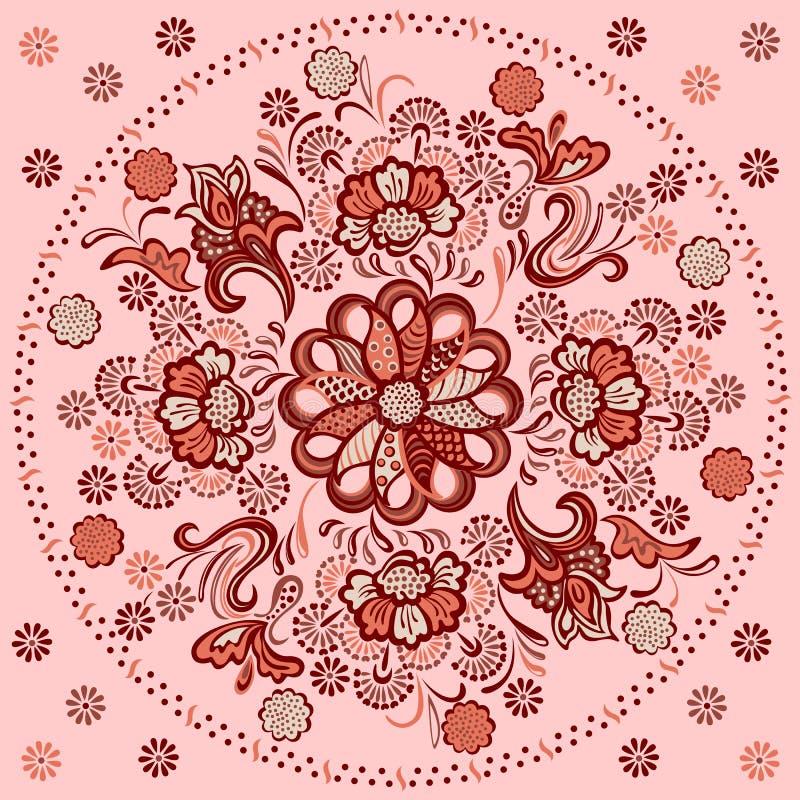 Bloemenmandala met decoratief ornament royalty-vrije illustratie