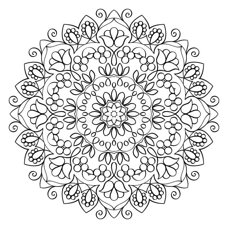 Bloemenmandala round pattern stock illustratie