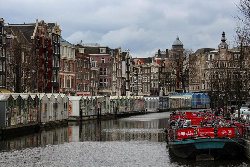 Bloemenmarkt (αγορά λουλουδιών) Άμστερνταμ στοκ εικόνα