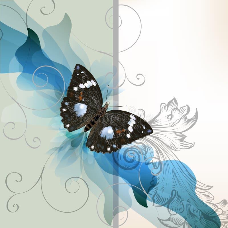 Bloemenontwerp met vlinder royalty-vrije illustratie
