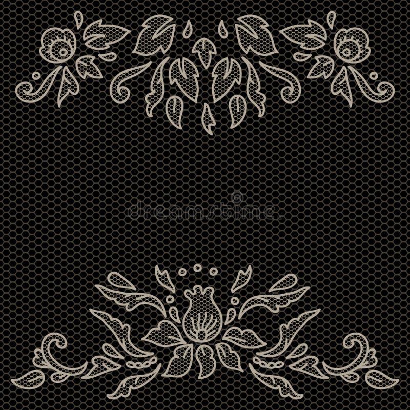 Bloemenontwerp op kantstof in zwart-wit, vectorkader vector illustratie