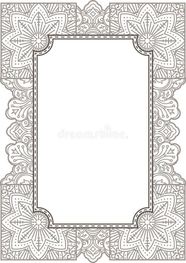 Bloemenornament Mehndi Henna Tattoo De uitstekende kaart van het bannerkader, royalty-vrije illustratie