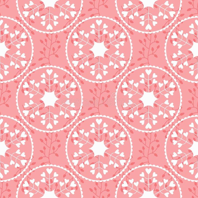 Bloemenornament met silhouetten van takken en abstracte ronde bloemen Vrouwelijk naadloos patroon stock illustratie