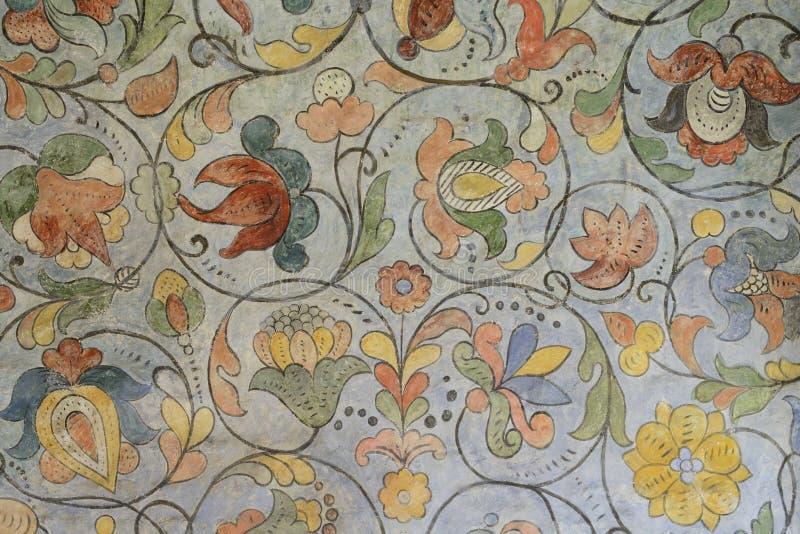 Bloemenornament van 17de eeuw in Heilige Basil Cathedral op Rood stock foto's