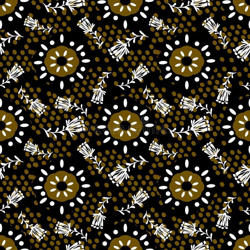 Bloemenornamenten met geometrische vormen van witte en bruine kleuren stock illustratie