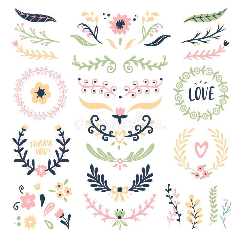 Bloemenornamentkroon Retro banner van de bloemwerveling, huwelijkskaart bloeit geïsoleerde slingerkaders en sierverdelers royalty-vrije illustratie