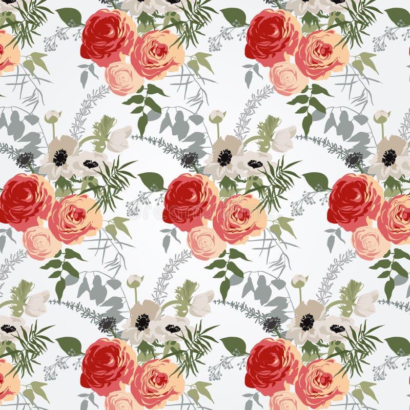 Bloemenpatronen in retro stijl stock illustratie