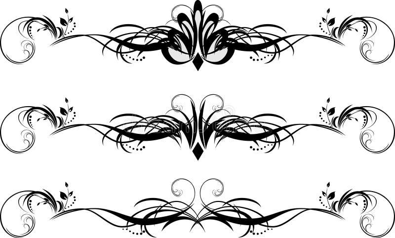 Bloemenpatroon drie voor ontwerp van frames stock illustratie