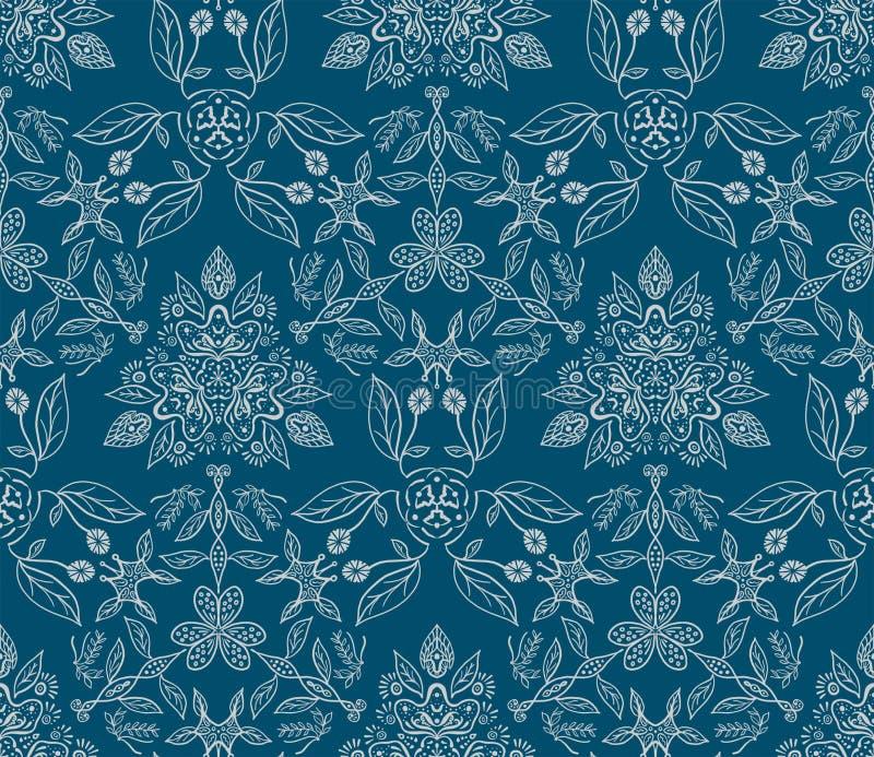 Bloemenpatroon - getrokken de hand doorbladert en bloeit vector illustratie
