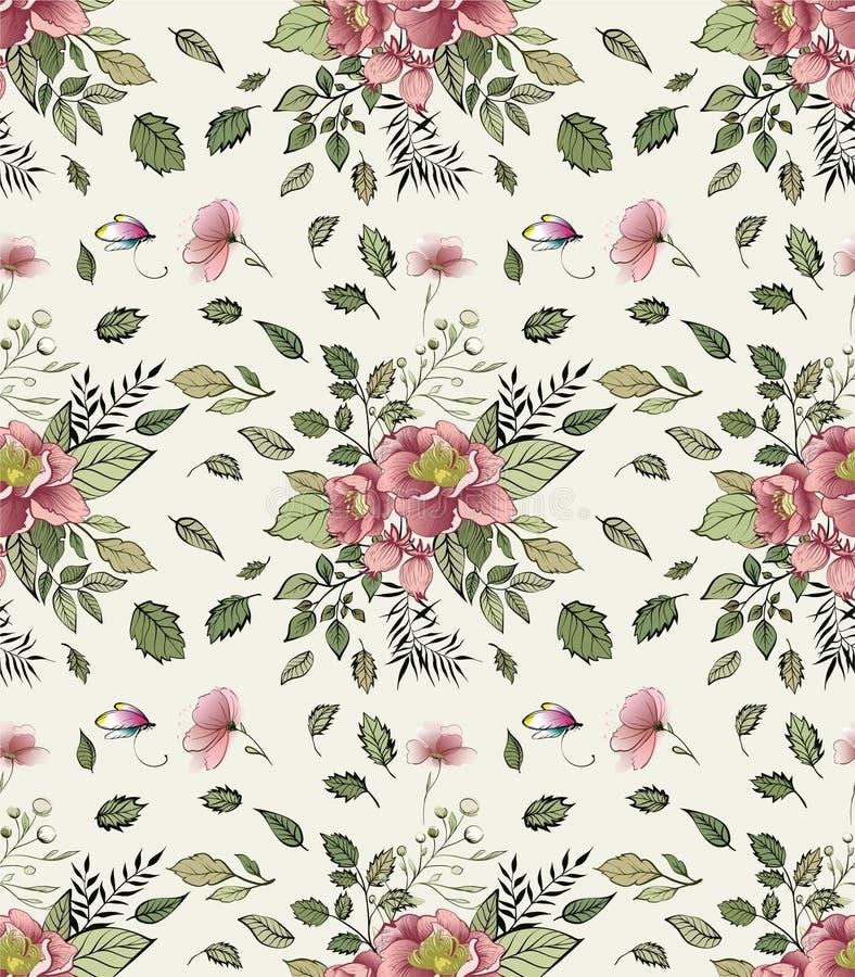 In Bloemenpatroon in het vele soort bloemen stock illustratie