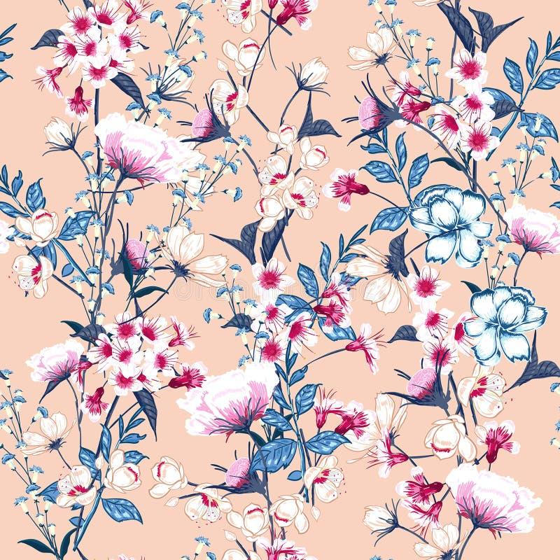 In Bloemenpatroon in het vele soort bloemen Botanisch M royalty-vrije illustratie