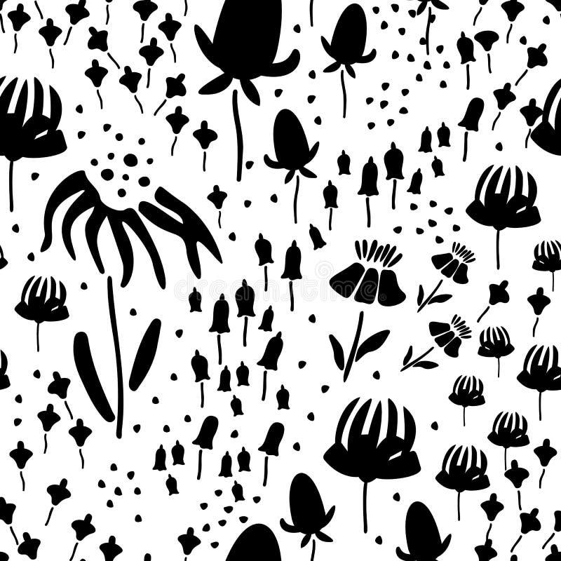 In Bloemenpatroon in het vele soort bloemen de botanische Motieven verspreidden willekeurig Naadloze VectorTextuur Druk met binne royalty-vrije illustratie