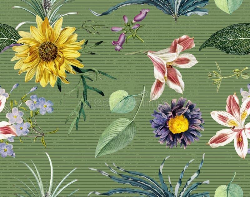 In Bloemenpatroon in het vele soort bloemen De tropische botanische Motieven verspreidden willekeurig Naadloze VectorTextuur royalty-vrije illustratie