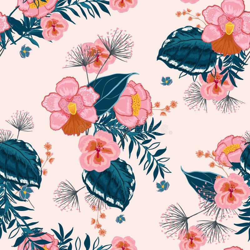 In Bloemenpatroon in het vele soort bloemen Tropische bota stock illustratie