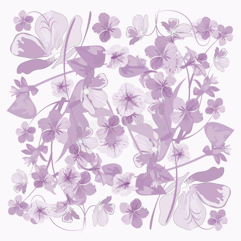 Bloemenpatroon in lilac tonen, vectorpastelkleur stock foto's