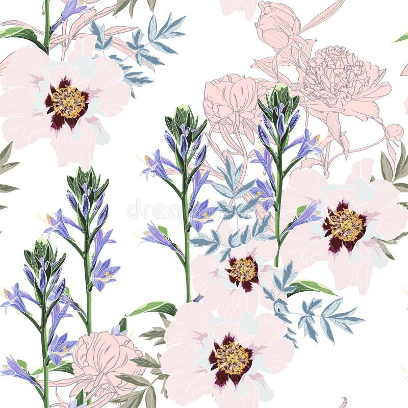 In Bloemenpatroon met het vele soort bloemen Tropische botanische Motieven Naadloze VectorTextuur stock illustratie