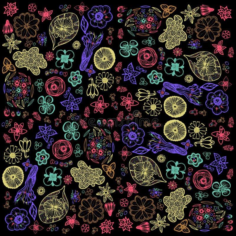 Bloemenpatroon met krabbelbloemen en bladeren op zwarte backg vector illustratie