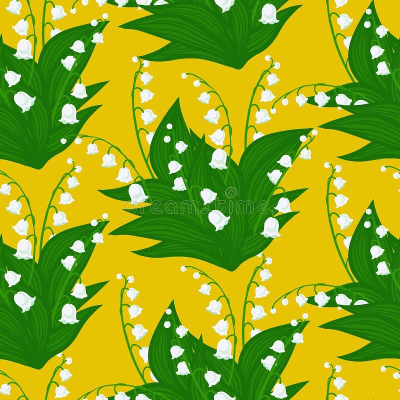 Bloemenpatroon met lelietje-van-dalenbloemen vector illustratie