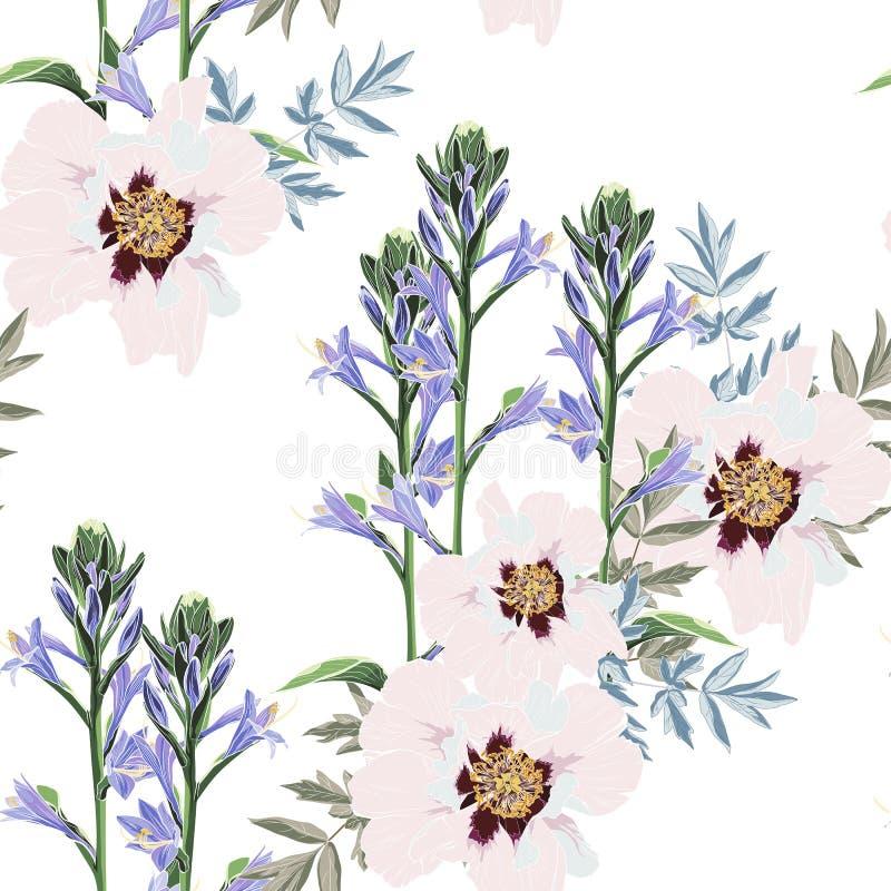 In Bloemenpatroon met roze pioen en violette belsbloemen vector illustratie