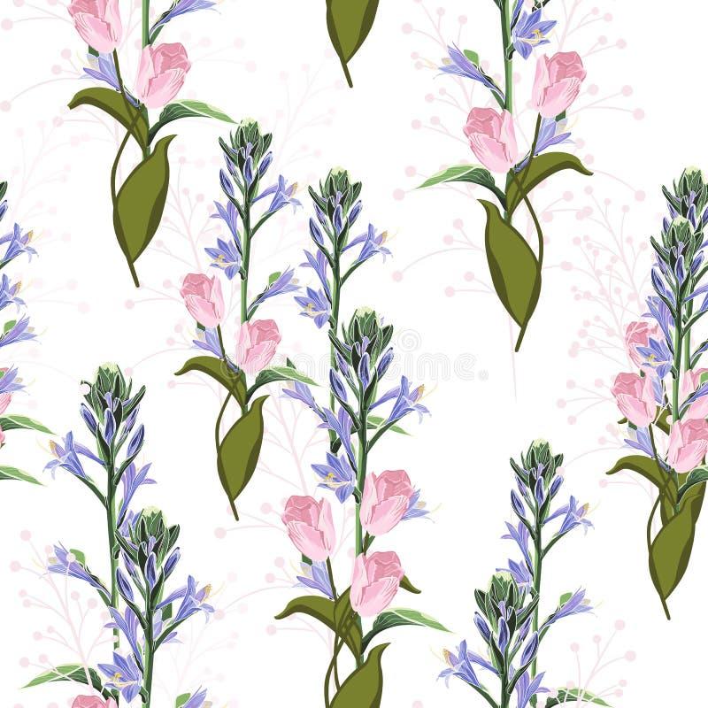 In Bloemenpatroon met roze tulpen en violette belsbloemen Tropische botanische Motieven royalty-vrije illustratie