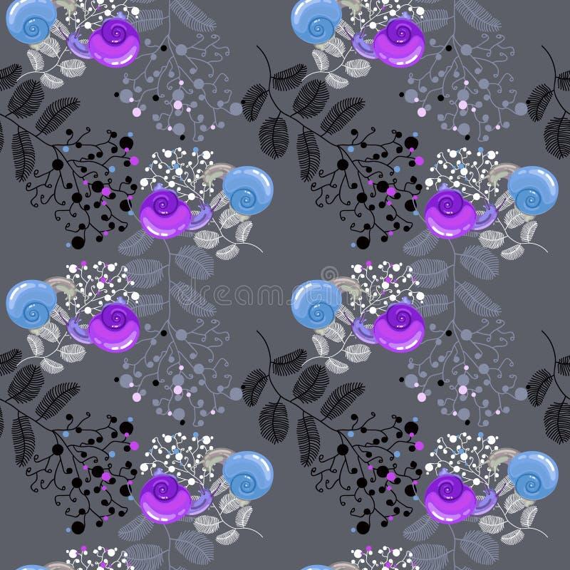 Bloemenpatroon met slakken stock illustratie
