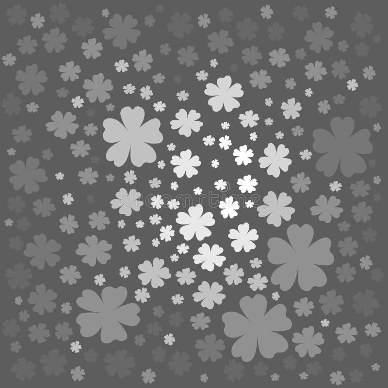 Bloemenpatroon met witte en grijze gekleurde bloemen royalty-vrije illustratie