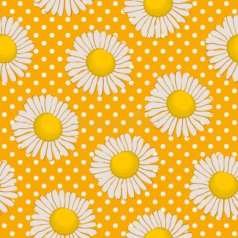 Bloemenpatroon op een gele achtergrond met stippen stock illustratie