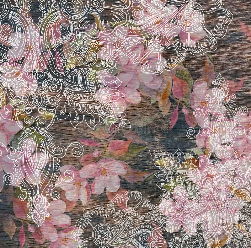Bloemenpatroon - roze bloemen, oostelijk etnisch ontwerp, houten textuur stock afbeelding