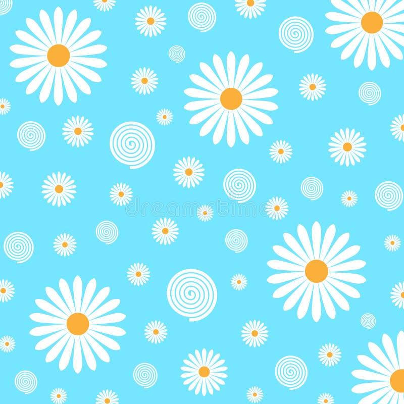 Bloemenpatroon van Margrieten op Lichtblauwe Achtergrond royalty-vrije illustratie