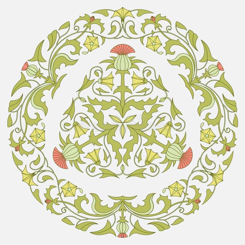 Bloemenpatroondistel en winde stock illustratie