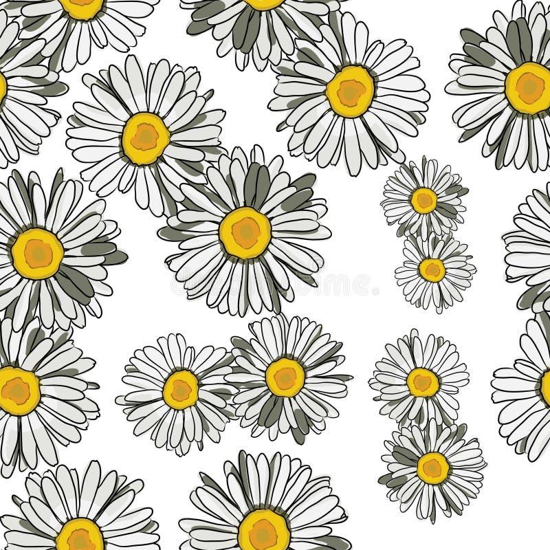 Bloemenpatroonmadeliefjes royalty-vrije illustratie