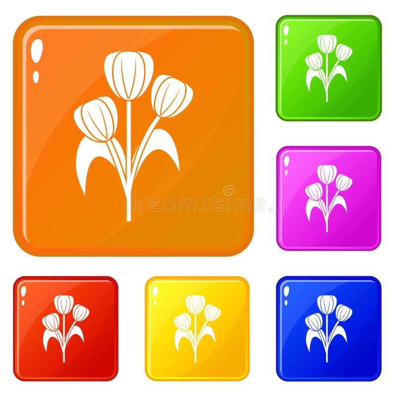 Bloemenpictogrammen geplaatst vectorkleur stock illustratie