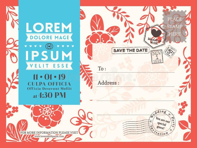 Bloemenprentbriefkaarmalplaatje als achtergrond voor de kaart van de Huwelijksuitnodiging royalty-vrije illustratie