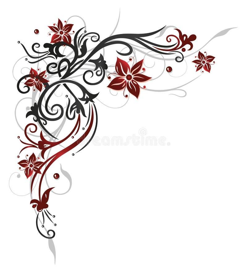 Bloemenrank, rode bloemen, royalty-vrije illustratie