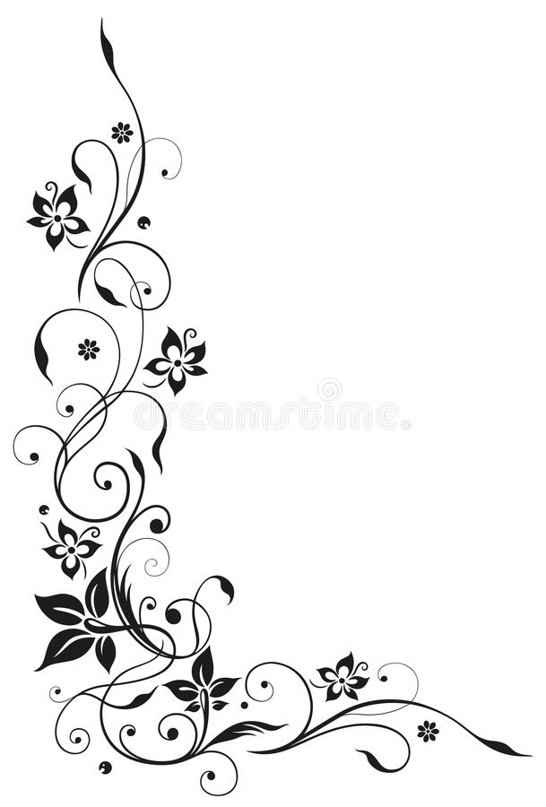 Bloemenrank, zwarte bloemen, stock illustratie