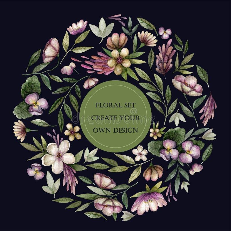Bloemenreeks met uitstekende bloemen en bladeren in donkere toon royalty-vrije illustratie