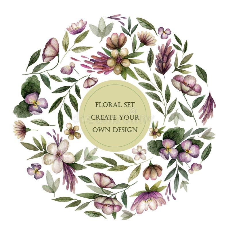 Bloemenreeks met uitstekende bloemen en bladeren in donkere toon stock illustratie