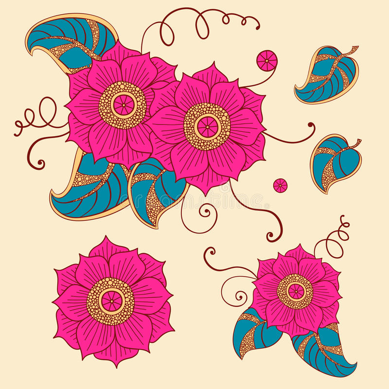 Bloemenreeks in vector stock illustratie
