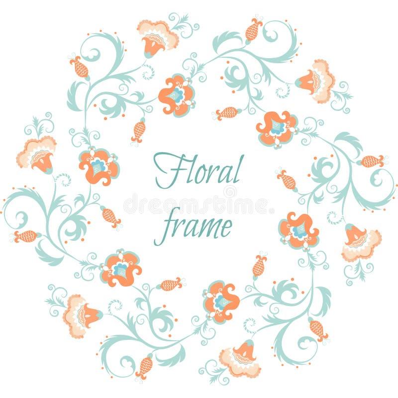 Bloemenslinger Het kader van de bloemgrens in pastelkleuren stock illustratie