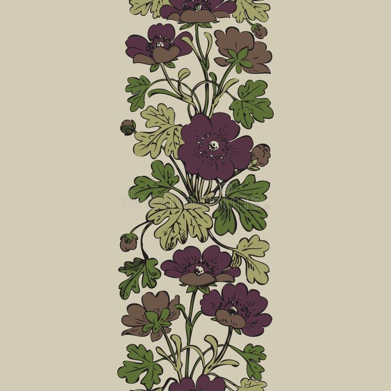 Bloemenstruik retro op witte achtergrond, getrokken hand decorat royalty-vrije illustratie