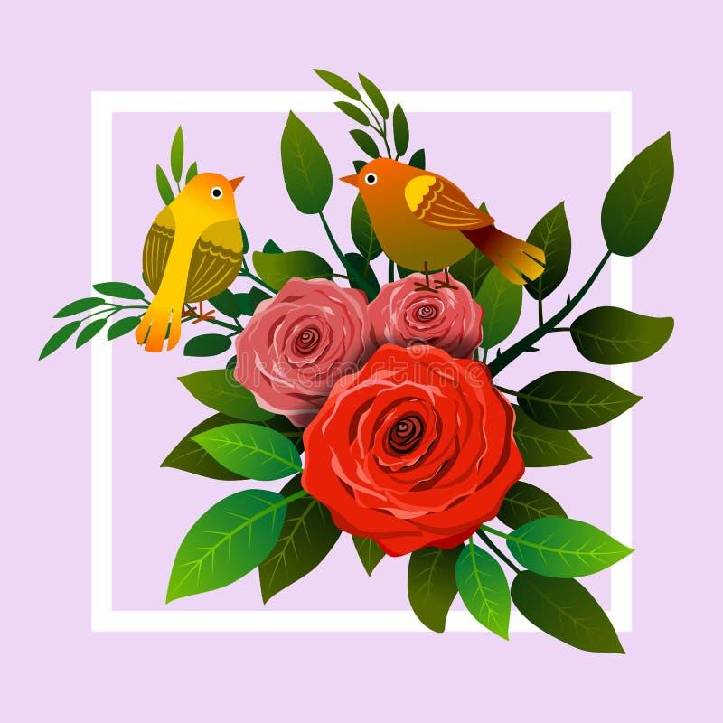 Bloementhemakader met boeket van rozen en twee vogels vector illustratie