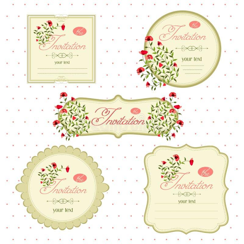 Bloemenuitnodigingskaarten voor een gebeurtenis stock illustratie
