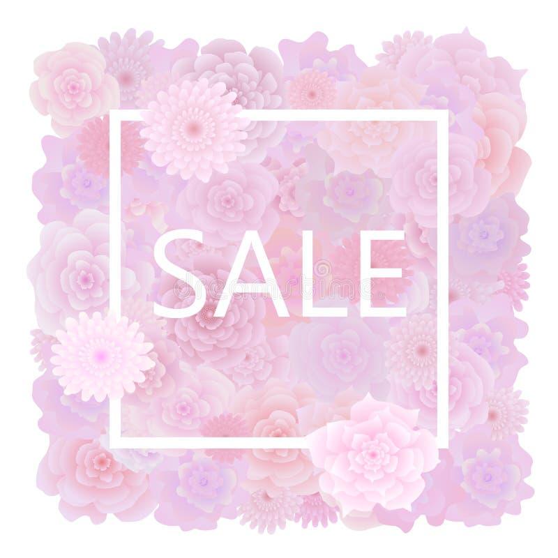 Bloemenverkoopachtergrond met bloeiende roze rozen en vierkant kader Vector vector illustratie