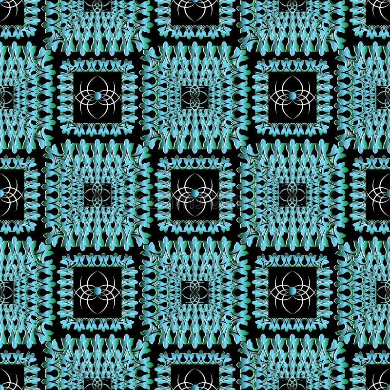 Bloemenvierkanten vector naadloos patroon Siercontrolebackgro vector illustratie