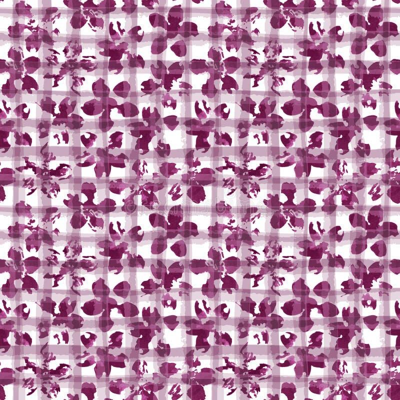 Bloemenwaterverfornament op geometrische plaidtextuur stock foto's