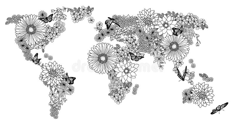 Bloemenwereldkaart voor het kleuren van boeken stock illustratie