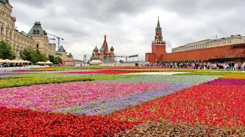 Bloemfestival in Rood Vierkant in Moskou stock foto's