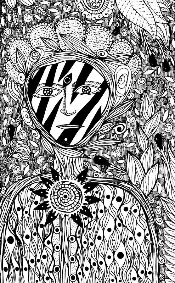 Bloemgeest - kleurende pagina voor volwassenen Fantasieinkt grafisch AR stock illustratie