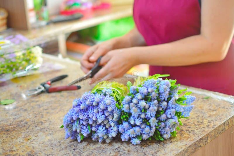 Bloemist op het werk Vrouw die boeket van de bloemen van de lentemattiola maken stock afbeelding