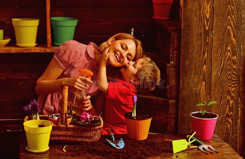 Bloemistconcept Weinig van de de bloemistvrouw van de jong geitjekus bespuitende bloem Huisbloemist op het werk Bloemistwinkel stock foto